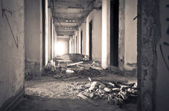 Inside of old abandoned building with construction unfinished Royalty Free Stock Photos