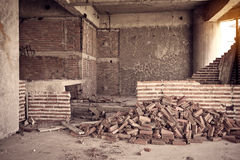 Inside of old abandoned building with construction unfinished Royalty Free Stock Photography