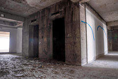 Inside of old abandoned building with construction unfinished. Stock Image