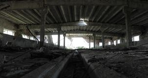 Inside the old abandoned ruined building stock video
