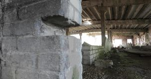 Inside the old abandoned ruined building stock video footage