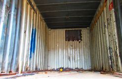 Inside an old cargo container  Royalty Free Stock Photography