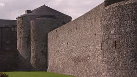 Inside an old castle. A pan to right shot inside an old Irish castle stock video footage