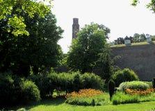 Inside of old castle stone brick. Green grass park in the Kalemegdan fortress Belgrade.  stock photography