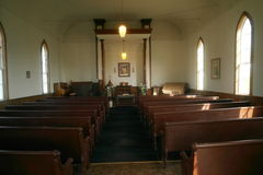 Inside of an old church Stock Image