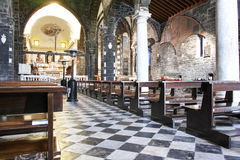 Inside an old church in portovenere Royalty Free Stock Photos