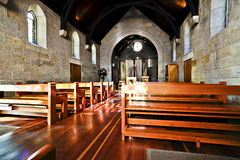 Inside of an old church room made in wood Royalty Free Stock Photos