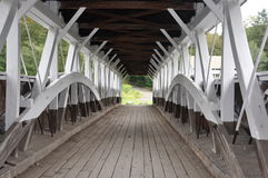 Inside Old Covered Bridge. Covered bridge in Bucks County, Pennsylvania from the inside showing the structural view.rnPicture taken July 28, 2011 Stock Photos