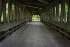 Inside an old covered bridge Cornish, New Hampshir Royalty Free Stock Photo
