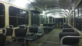 Inside old empty tram Stock Photos