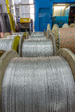 Inside the old factory manufacturing electrical cable. Outdated Royalty Free Stock Photos