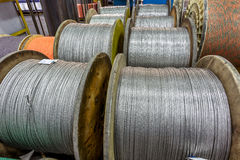 Inside the old factory manufacturing electrical cable. Outdated Royalty Free Stock Photography