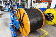 Inside the old factory manufacturing electrical cable. Outdated Royalty Free Stock Image