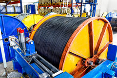 Inside the old factory manufacturing electrical cable. Outdated Stock Images