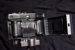 Inside of old film camera, made in USSR. This is a legendary film camera. It's amateur camera. A lot of amateurs were shooting to this camera in times of USSR Royalty Free Stock Photo