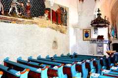 Inside the old fortified church in Dirjiu, Transylvania, Romania Royalty Free Stock Photo