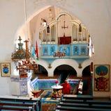 Inside in the old fortified church Dirjiu, Transylvania, Romania Stock Photo