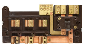 Inside an Old Fuse Box. Isolated on white with clipping path royalty free stock images