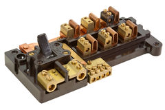 Inside an Old Fuse Box stock photography