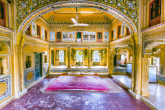 Inside an old Haveli in Mandawa. MANDAWA, INDIA, OCT 25, 2012: insde of a beautiful old Haveli in Mandawa, India. Haveli is the term used for a private mansion Royalty Free Stock Image