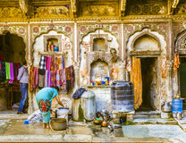 Inside an old Haveli in Mandawa Stock Images