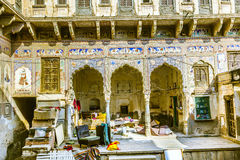 Inside an old Haveli in Mandawa Stock Photo