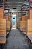 Inside a old historic railway car Stock Photos