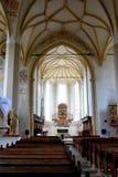 Inside the old medieval saxon lutheran church in Sighisoara, Transylvania, Romania Royalty Free Stock Photo