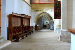 Inside the old medieval saxon lutheran church in Sighisoara, Transylvania, Romania stock images