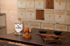 Inside the old pharmacy. Interior detail of a very old rural pharmacy royalty free stock images