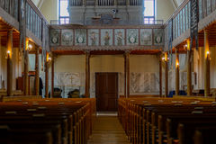 Inside old protestant lutheran church Royalty Free Stock Photos