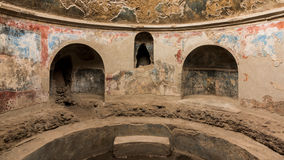 Inside an old Roman bath in Pompeii Royalty Free Stock Photos