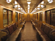 Inside of an old subway car. Inside of the oldest non-modernized subway car in Moscow (built in 1968 Royalty Free Stock Image
