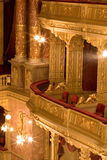 Inside an old theater. Gold and velvet Stock Image