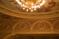 Inside an old theater. Gold ornaments Stock Image
