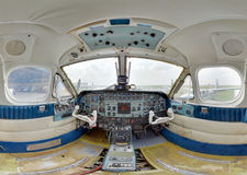 Inside an old turboprop cockpit. Wide angle Royalty Free Stock Photos