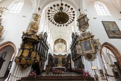 Inside the Oliwa Cathedral in Gdansk. Beautiful interior and altar at the empty Oliwa Archcathedral in Gdansk, Poland Stock Photography