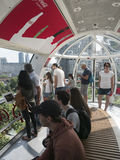 Inside one of the capsules of the London Eye Stock Images