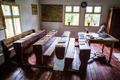 Inside one of the old houses in open-air museum in Stara Lubovna. Stara Lubovna, Slovakia. 10 AUGUST 2015. Open-air museum in Stara Lubovna. Ethnographic natural Stock Image