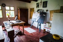 Inside one of the old houses in Stara Lubovna open-air museum. Stara Lubovna, Slovakia. 10 AUGUST 2015. Open-air museum in Stara Lubovna. Ethnographic natural Stock Photos