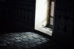 Inside of one of the oldest mosque in the central asian region stock image