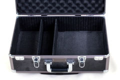 Inside an Open Case. A padded, black case sits open on a white background. The interior is tilted and zoomed in for easy product placement stock images
