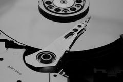 Inside a open HDD royalty free stock photography