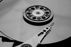 Inside a open HDD royalty free stock image