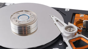 Inside opened hard disk drive (HDD). On white Stock Photo