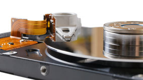 Inside opened hard disk drive (HDD). On white Stock Image