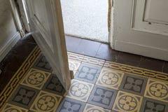 Opened wooden door. Inside opened old, wooden door royalty free stock photos