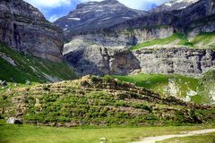 Cliffs and mountains in Spanish Pyrenees. Stock Image