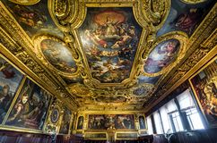 Inside the ornate Doge`s Palace or Palazzo Ducale in Venice. Venice, Italy - May 20, 2017: Inside the ornate Doge`s Palace or Palazzo Ducale. Doge`s Palace is royalty free stock photo