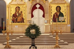 Inside the Orthodox church. In the Perm region Royalty Free Stock Images